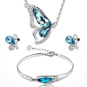 New Four-Piece Silver & Blue Butterfly Set